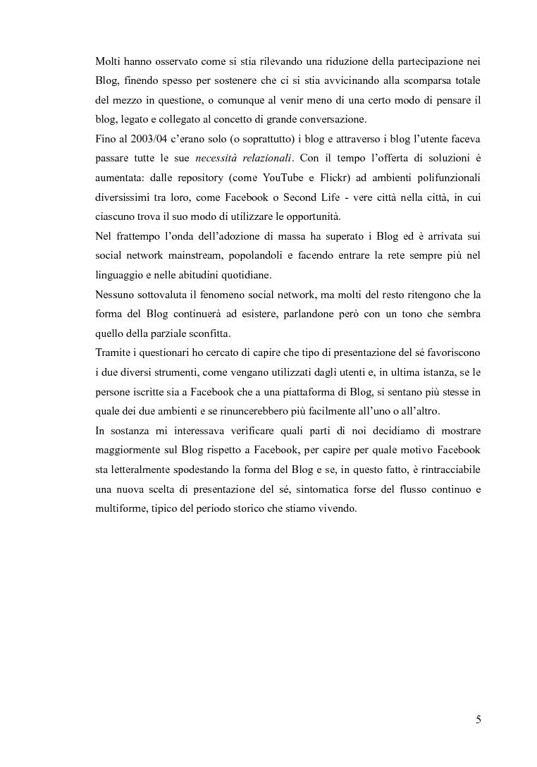 Anteprima della tesi: Blog e social network - Mediamorfosi dell'identità, Pagina 4