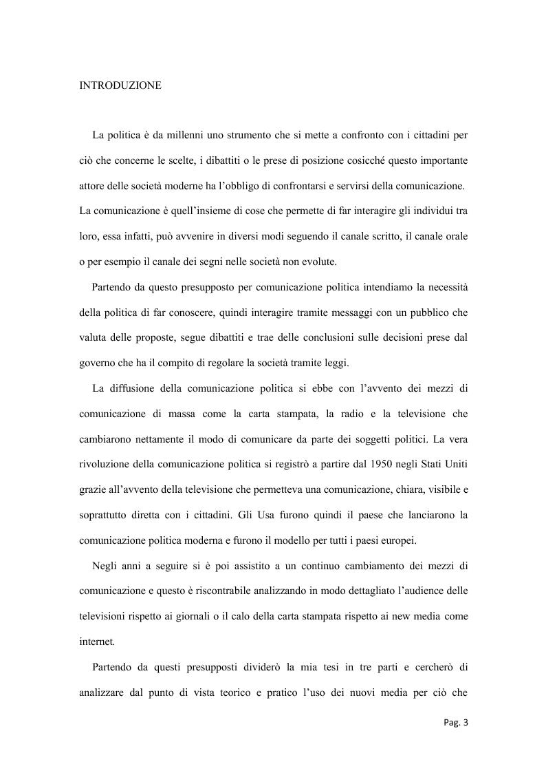 Anteprima della tesi: Politica e nuovi media - La nuova frontiera della comunicazione politica, Pagina 1