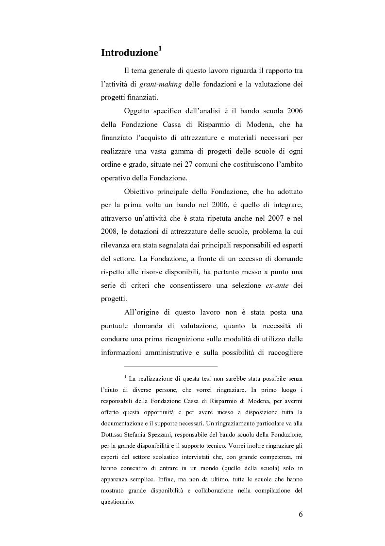Anteprima della tesi: Il bando scuola 2006 della Fondazione Cassa di Risparmio di Modena: un esercizio di valutazione, Pagina 1