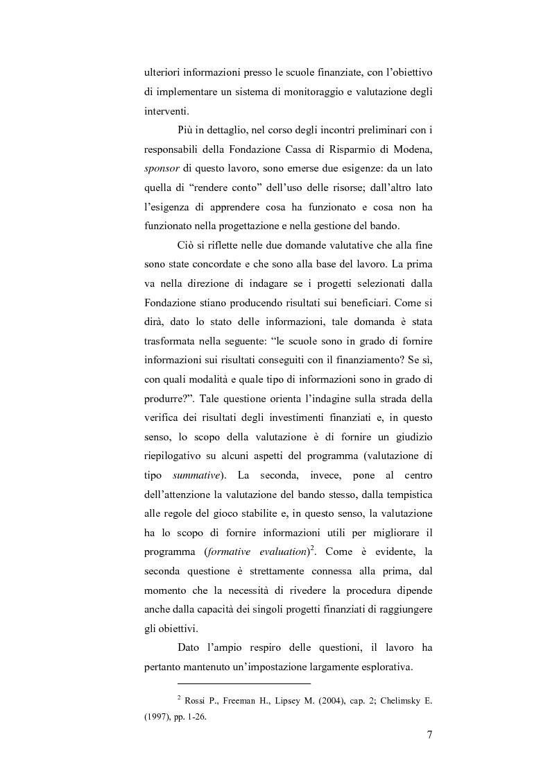 Anteprima della tesi: Il bando scuola 2006 della Fondazione Cassa di Risparmio di Modena: un esercizio di valutazione, Pagina 2