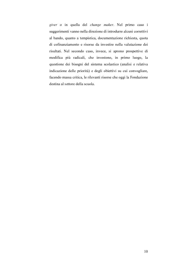 Anteprima della tesi: Il bando scuola 2006 della Fondazione Cassa di Risparmio di Modena: un esercizio di valutazione, Pagina 5