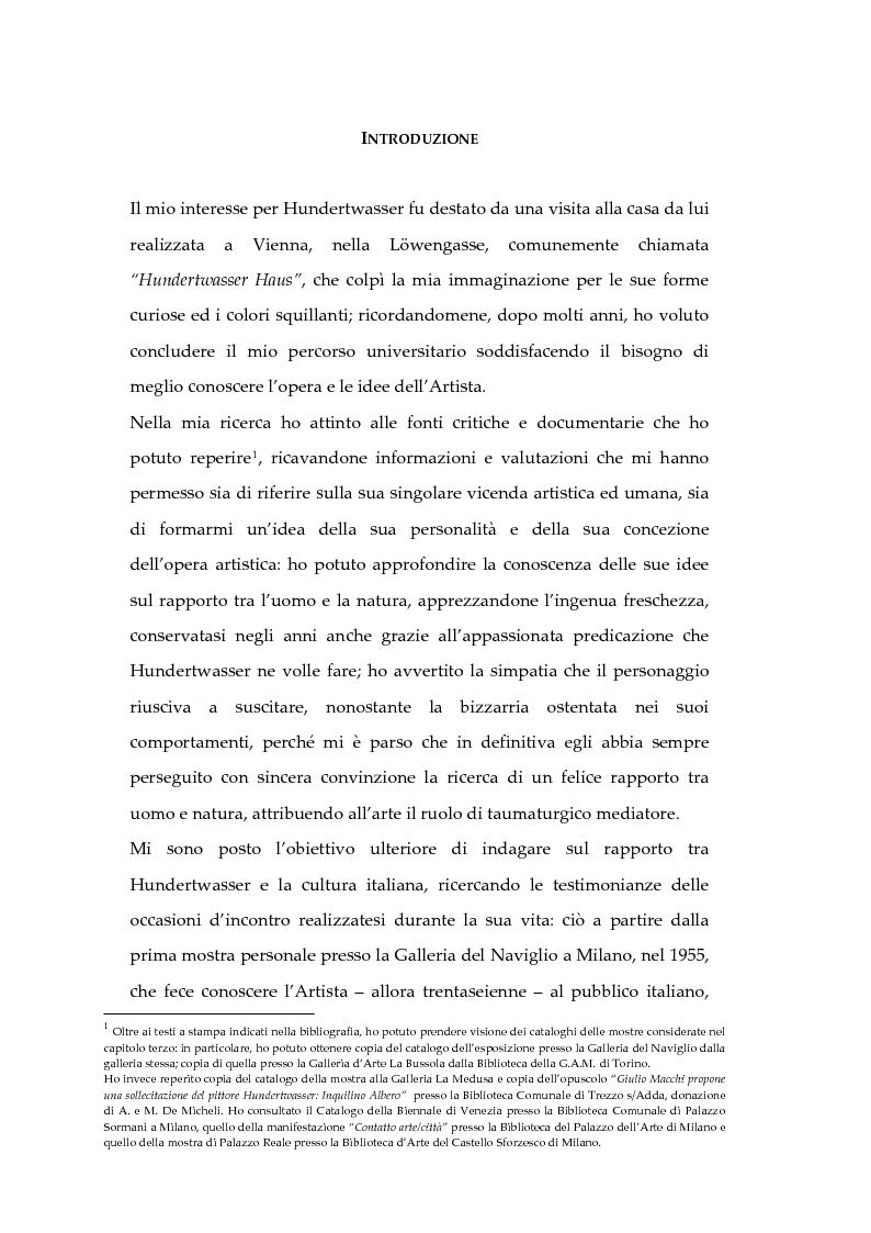 Anteprima della tesi: Hundertwasser e l'Italia 1955 - 1980. Testimonianze di una relazione., Pagina 1