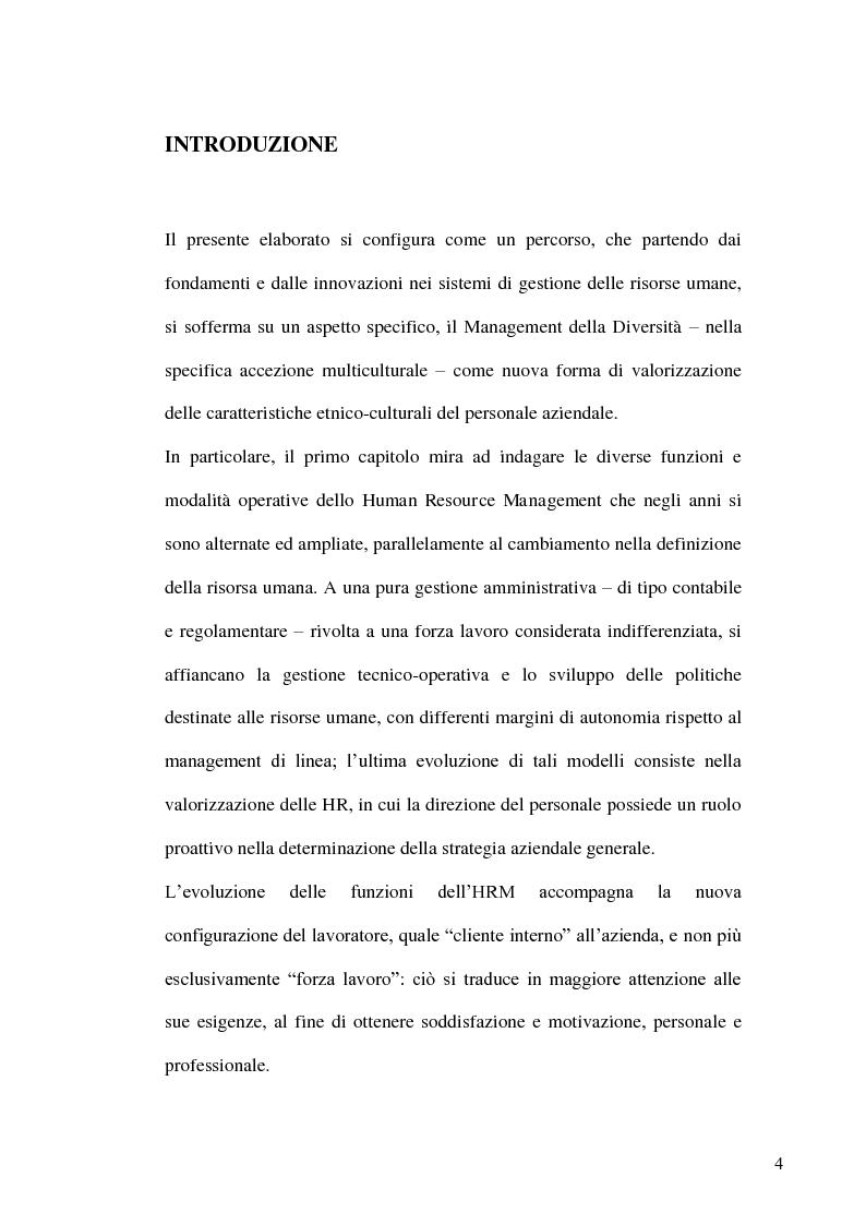 Anteprima della tesi: Gestione delle risorse umane in azienda e Management multiculturale, Pagina 1