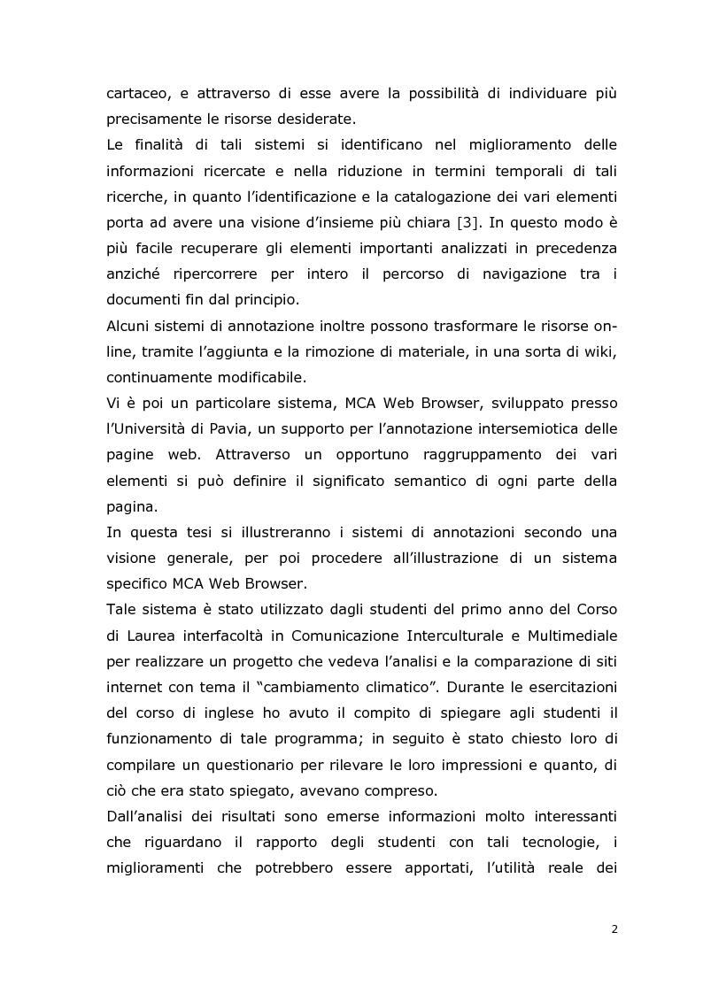 Anteprima della tesi: MCA Web Browser: indagine conoscitiva sulla valutazione di un sistema di supporto informatico agli studenti del corso CIM, Pagina 2