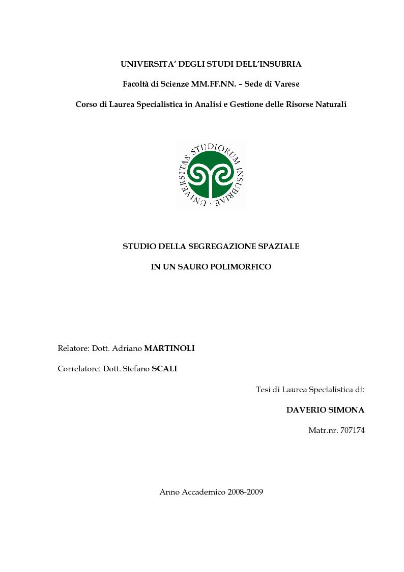 Anteprima della tesi: Studio della segregazione spaziale in un sauro polimorfico, Pagina 1