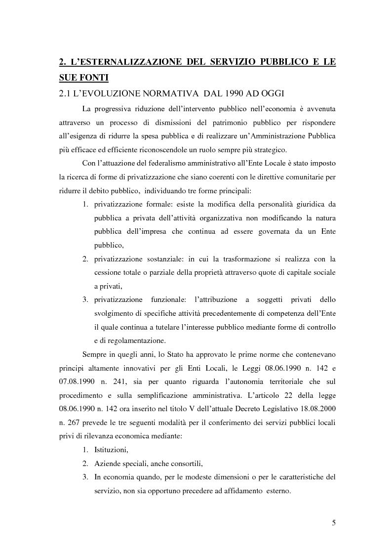 Anteprima della tesi: L'esternalizzazione del servizio pubblico locale - Gli effetti delle scelte sui bilanci pubblici e le valutazione dei risultati, Pagina 1