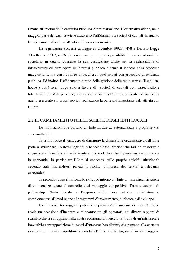 Anteprima della tesi: L'esternalizzazione del servizio pubblico locale - Gli effetti delle scelte sui bilanci pubblici e le valutazione dei risultati, Pagina 3