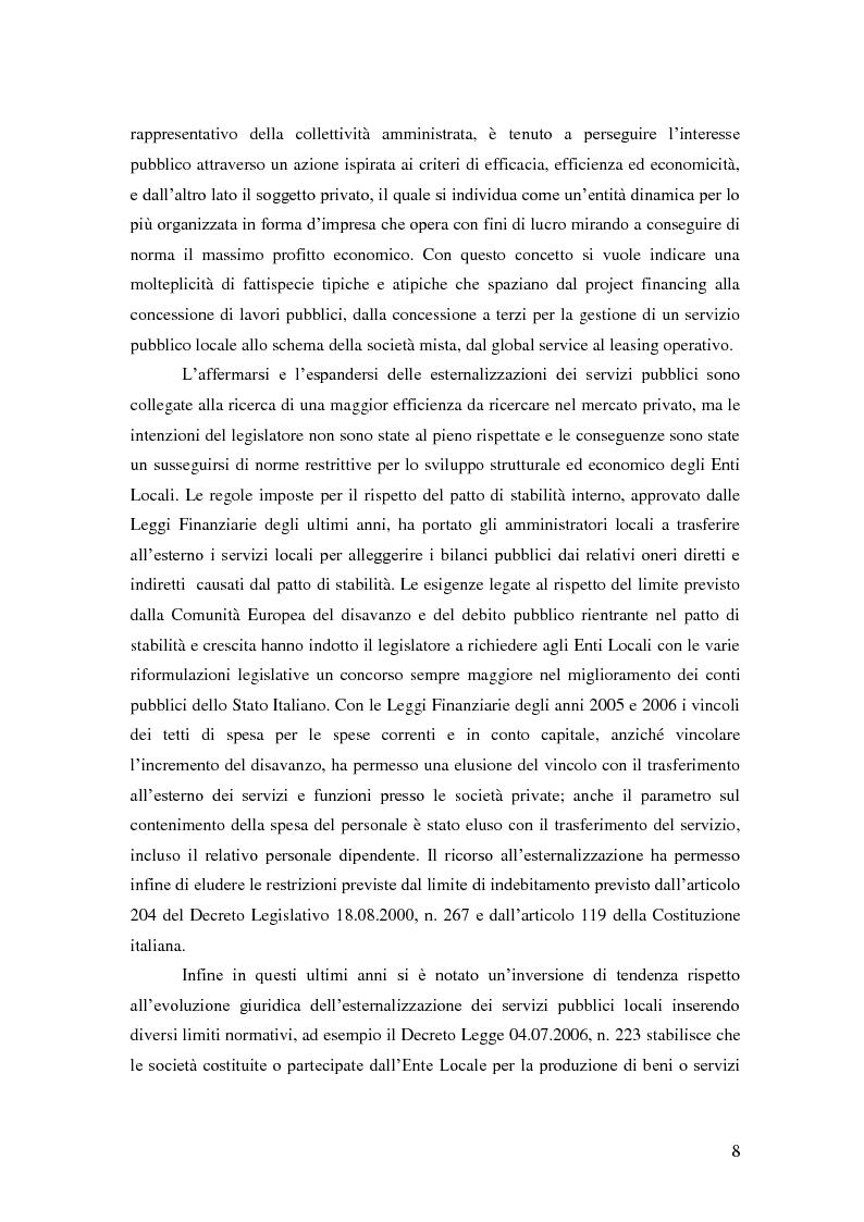 Anteprima della tesi: L'esternalizzazione del servizio pubblico locale - Gli effetti delle scelte sui bilanci pubblici e le valutazione dei risultati, Pagina 4