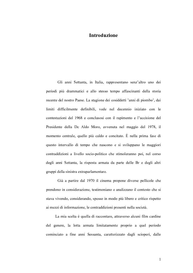 Anteprima della tesi: Il cinema e la lotta armata in Italia: dalla fabbrica al caso Moro, Pagina 1