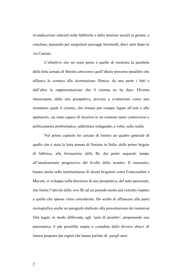 Anteprima della tesi: Il cinema e la lotta armata in Italia: dalla fabbrica al caso Moro, Pagina 2