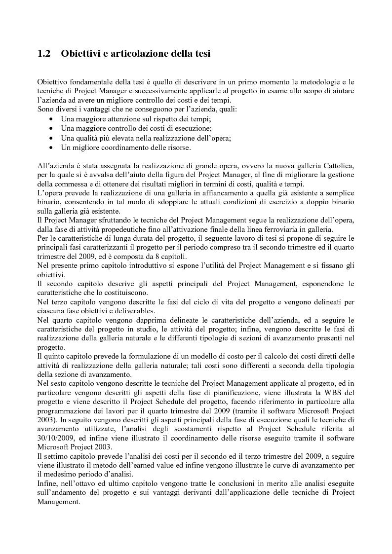 Anteprima della tesi: La gestione dei progetti d'ingegneria: applicazione alla costruzione di una galleria ferroviaria, Pagina 2