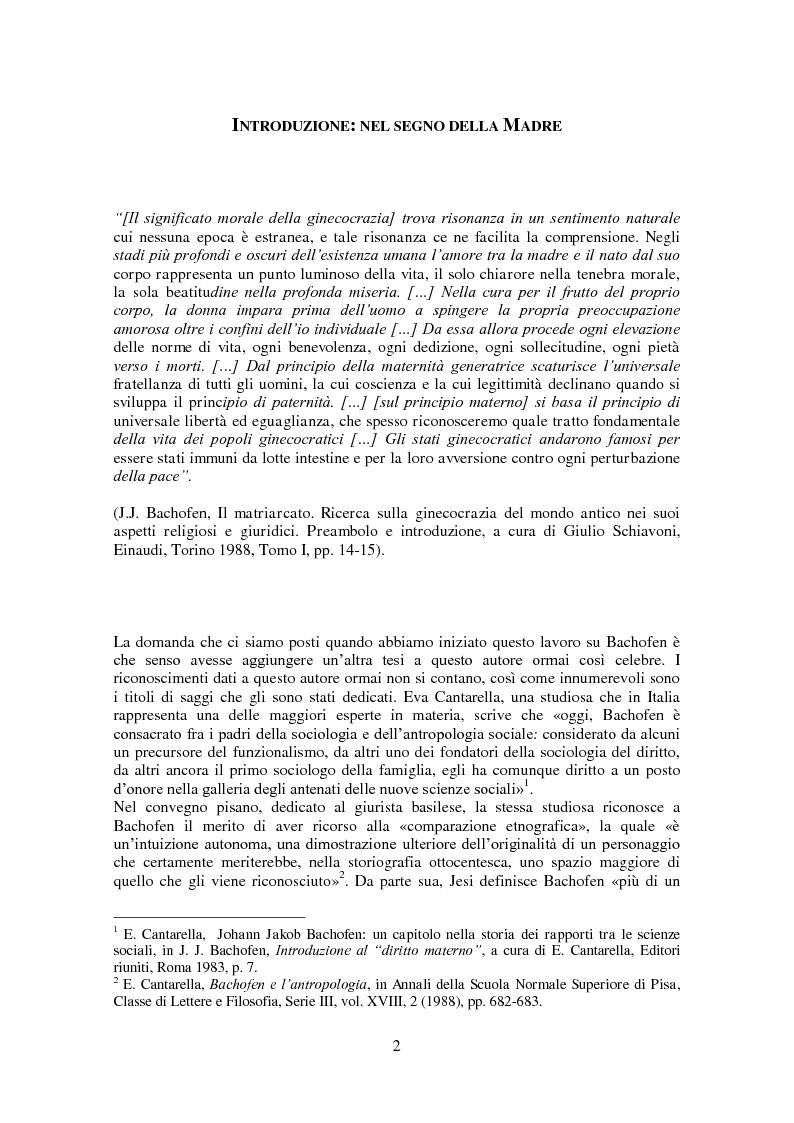 Anteprima della tesi: L'antropologia giuridica nell'opera di Johann Jakob Bachofen, Pagina 1