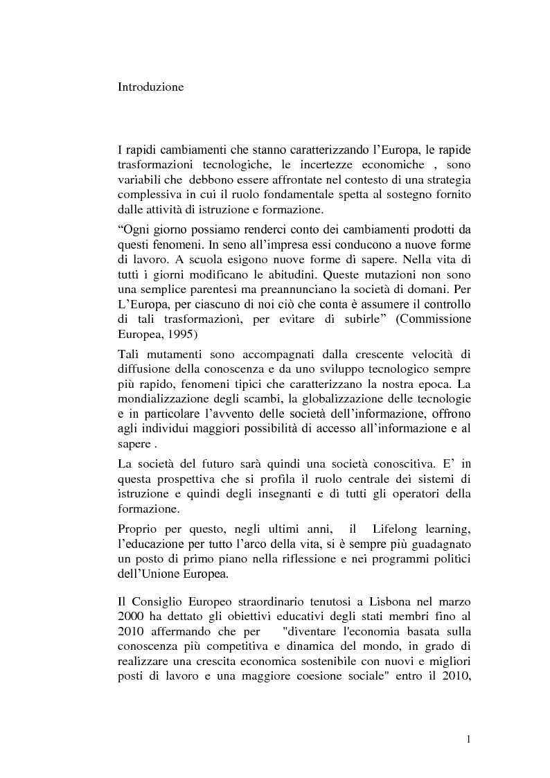 Anteprima della tesi: Una scuola nella prospettiva europea del lifelong learning. Il ruolo della dirigenza scolastica., Pagina 1