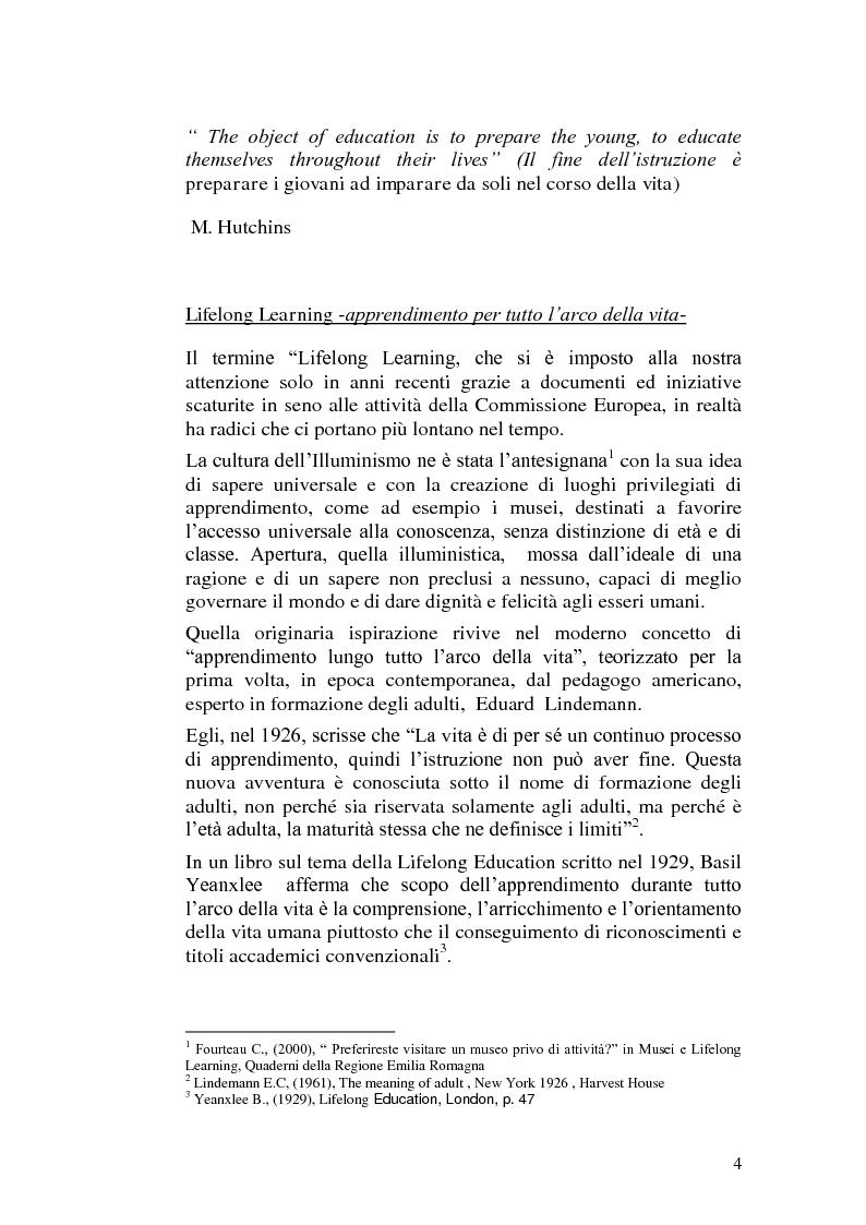 Anteprima della tesi: Una scuola nella prospettiva europea del lifelong learning. Il ruolo della dirigenza scolastica., Pagina 4