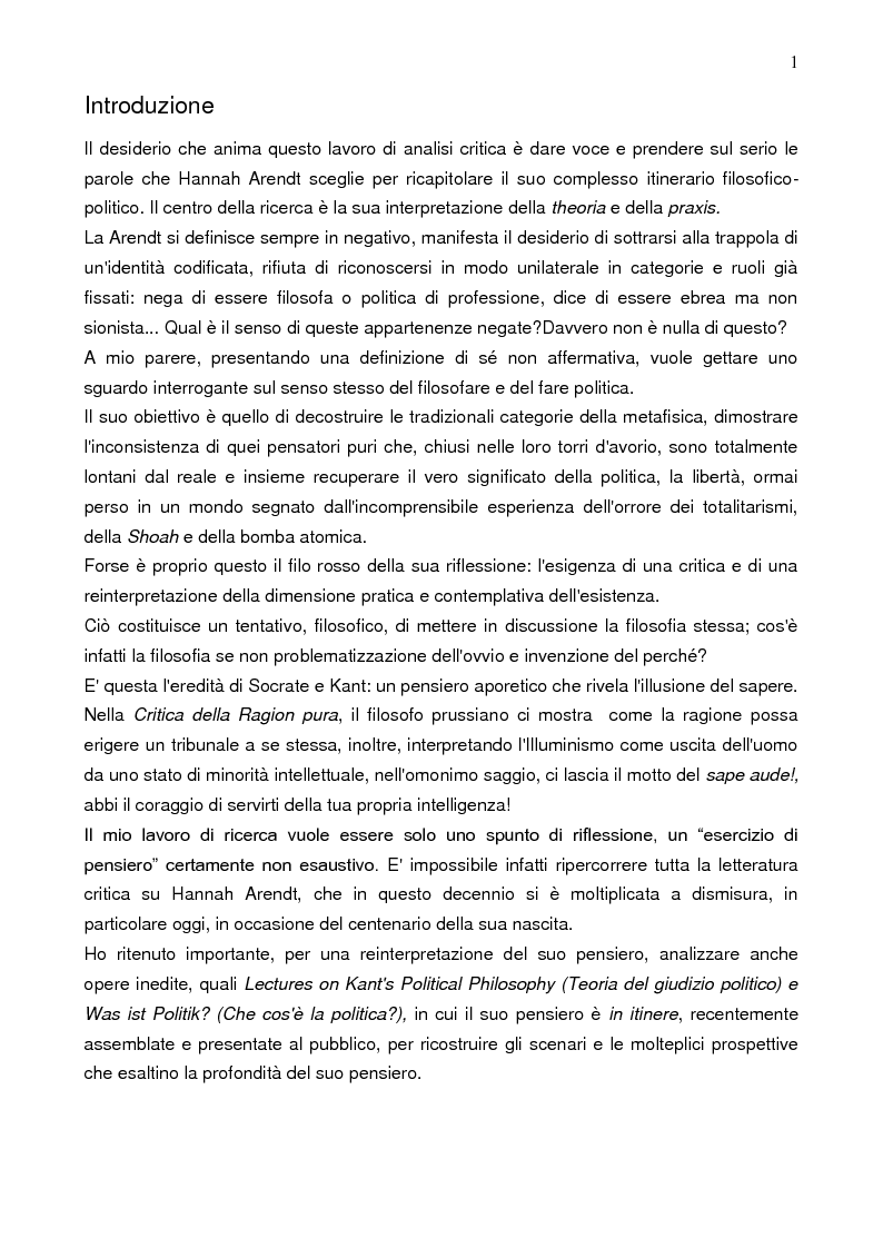 Anteprima della tesi: Prassi e contemplazione in Hannah Arendt, Pagina 1