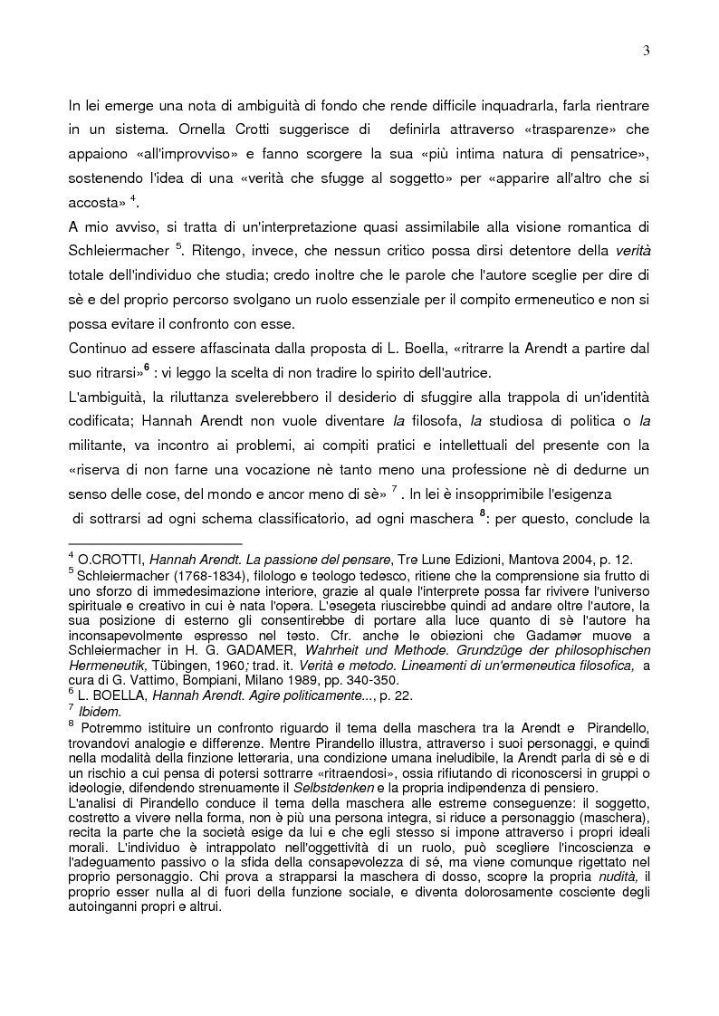 Anteprima della tesi: Prassi e contemplazione in Hannah Arendt, Pagina 3