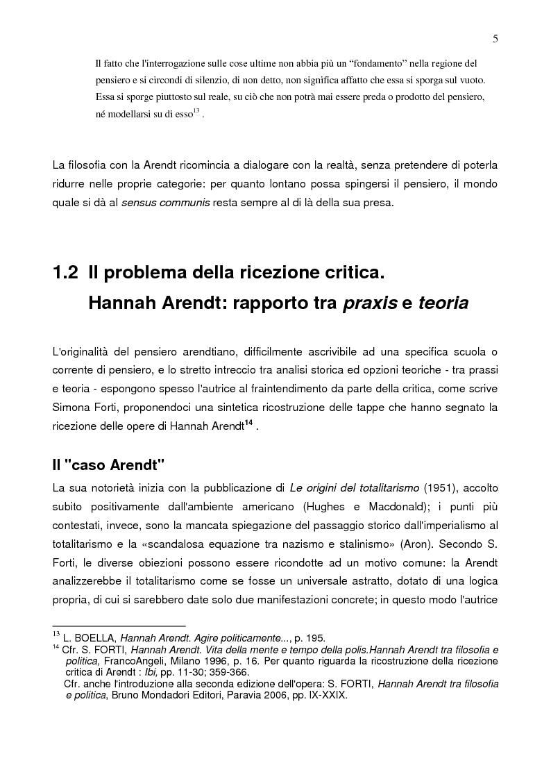 Anteprima della tesi: Prassi e contemplazione in Hannah Arendt, Pagina 5