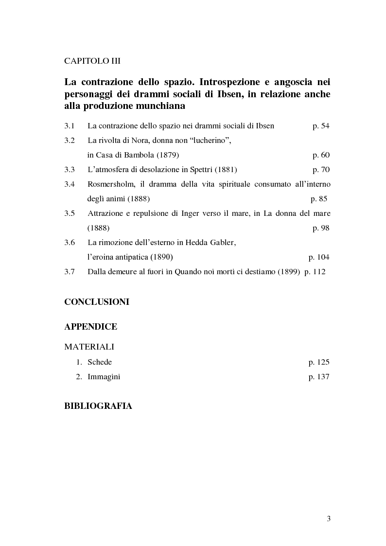 Indice della tesi: Spazio e personaggio nel teatro di Ibsen con riferimenti alla produzione di Munch, Pagina 2