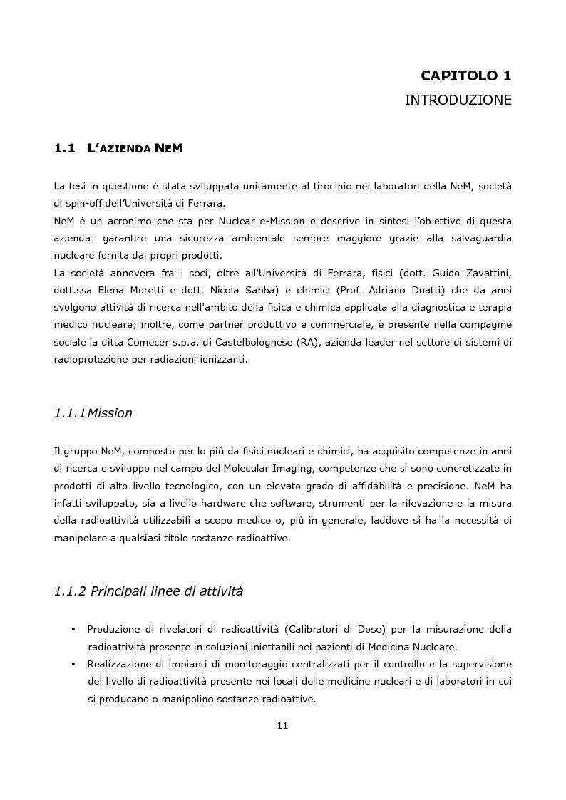 Anteprima della tesi: Progetto e realizzazione prototipale di una scheda elettronica per la misura di radioattività in moduli per la sintesi di radiofarmaci per la medicina nucleare, Pagina 1
