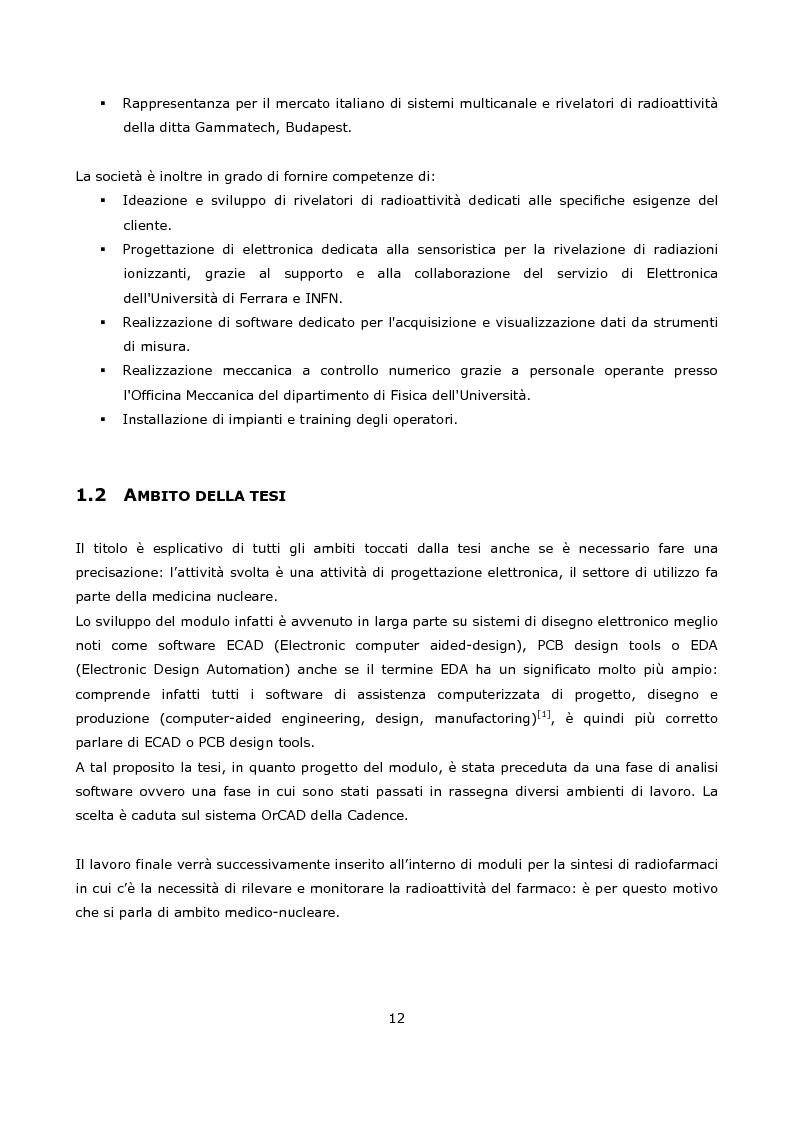 Anteprima della tesi: Progetto e realizzazione prototipale di una scheda elettronica per la misura di radioattività in moduli per la sintesi di radiofarmaci per la medicina nucleare, Pagina 2