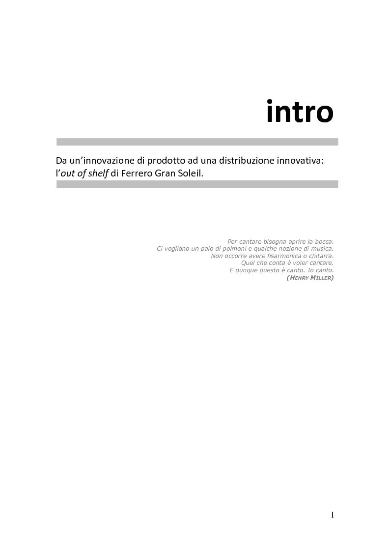 Anteprima della tesi: Da un'innovazione di prodotto ad una distribuzione innovativa: l'out of shelf di Ferrero Gran Soleil, Pagina 1