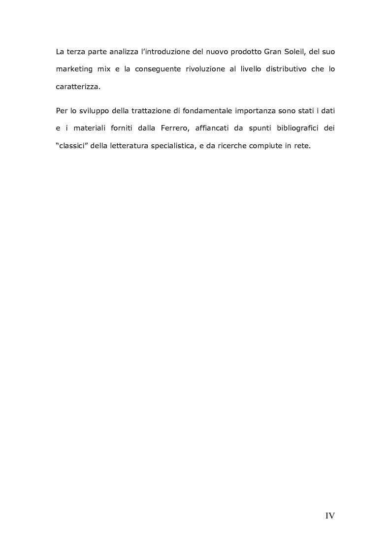 Anteprima della tesi: Da un'innovazione di prodotto ad una distribuzione innovativa: l'out of shelf di Ferrero Gran Soleil, Pagina 4