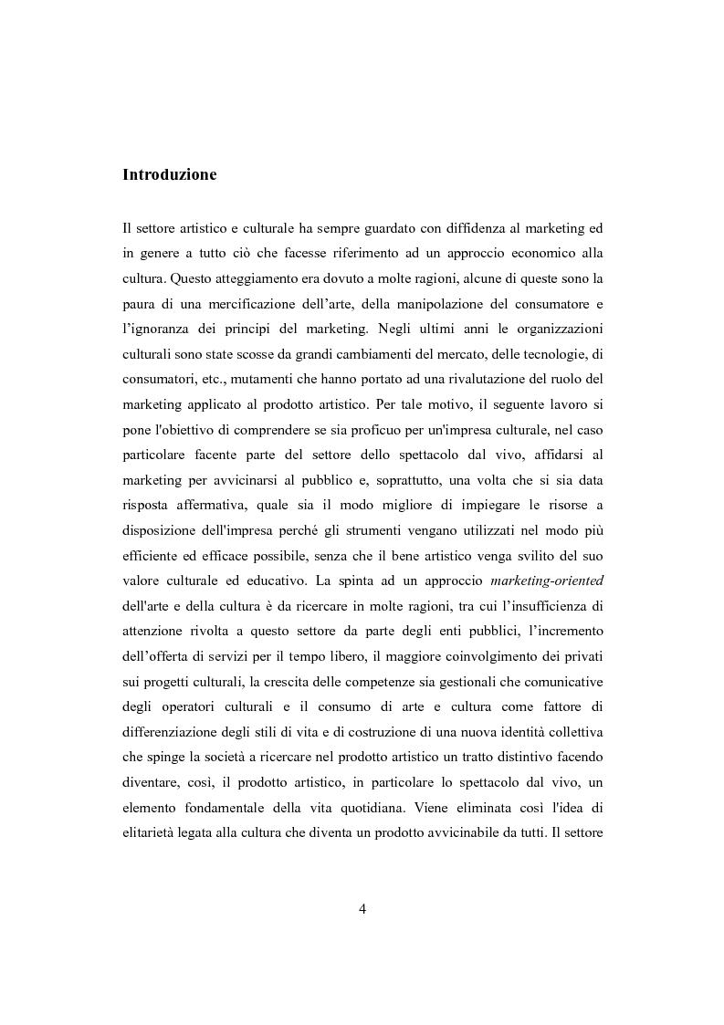 Anteprima della tesi: Performing arts marketing e management, Pagina 1