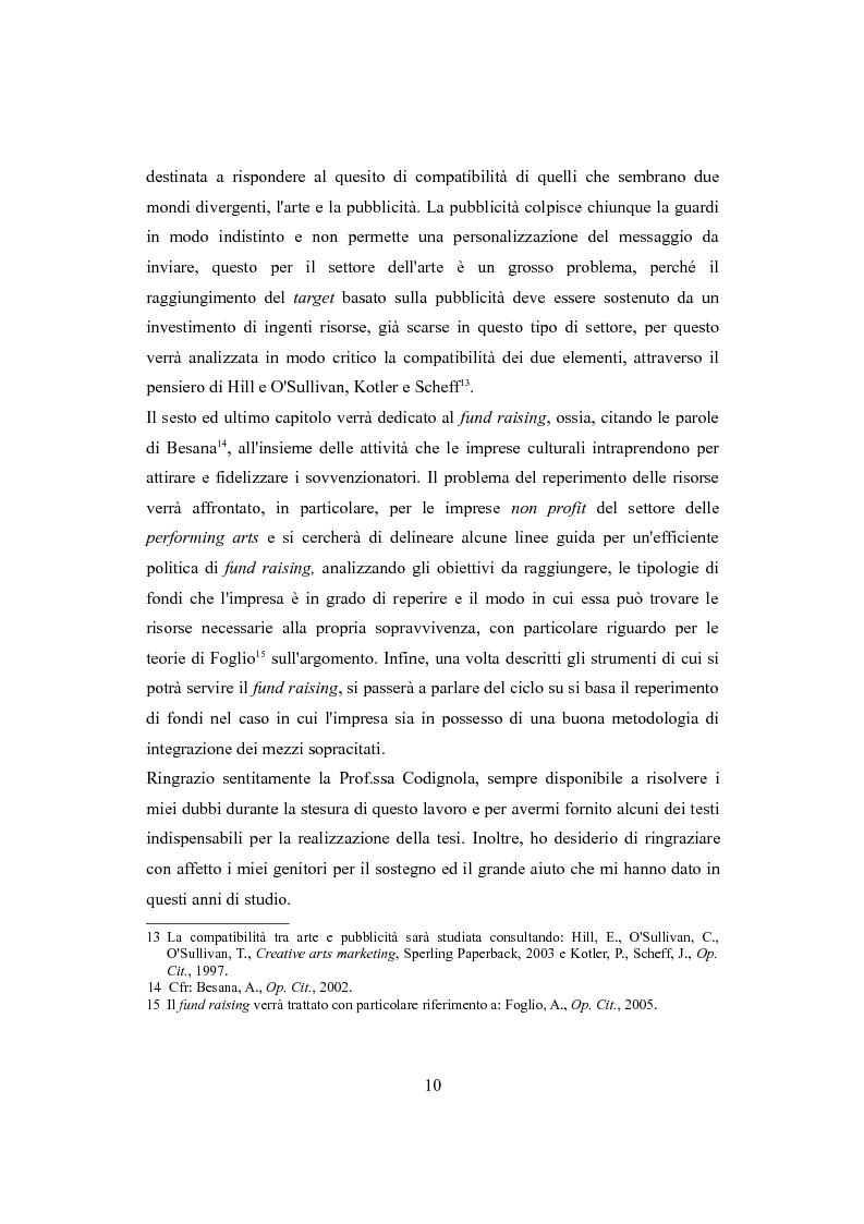 Anteprima della tesi: Performing arts marketing e management, Pagina 7