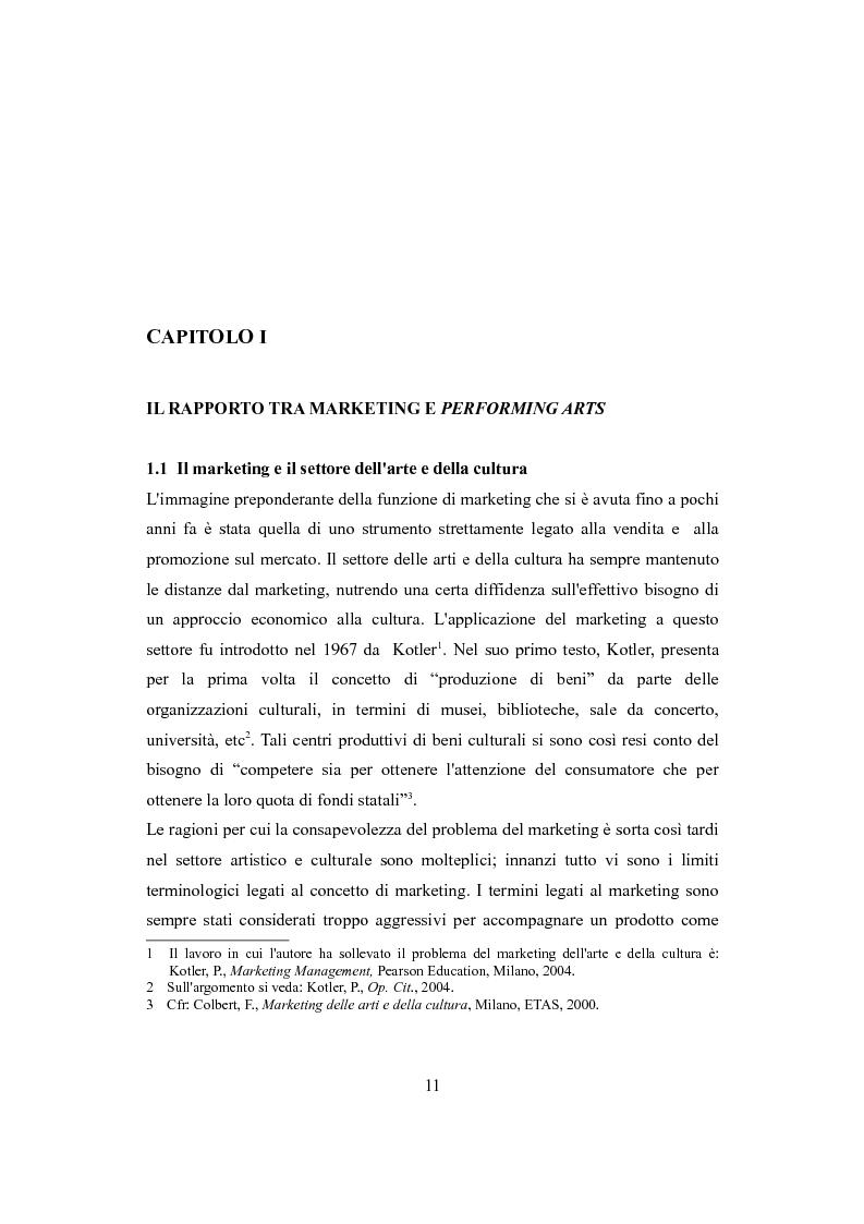 Anteprima della tesi: Performing arts marketing e management, Pagina 8