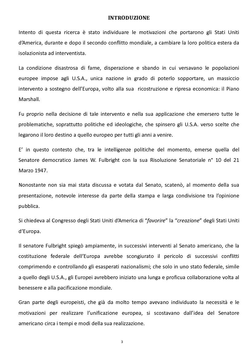 Anteprima della tesi: La Risoluzione Fulbright per gli Stati Uniti d'Europa. La visione americana dell'Europa dopo il secondo conflitto mondiale, Pagina 1