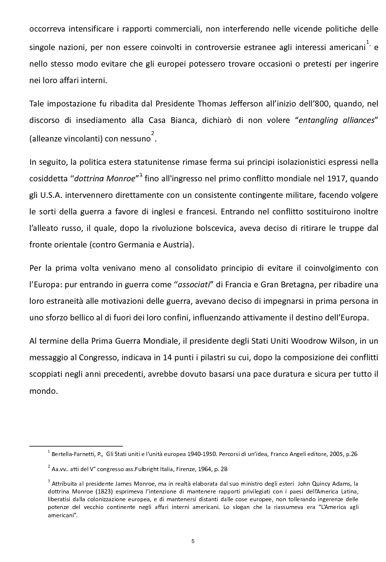 Anteprima della tesi: La Risoluzione Fulbright per gli Stati Uniti d'Europa. La visione americana dell'Europa dopo il secondo conflitto mondiale, Pagina 3