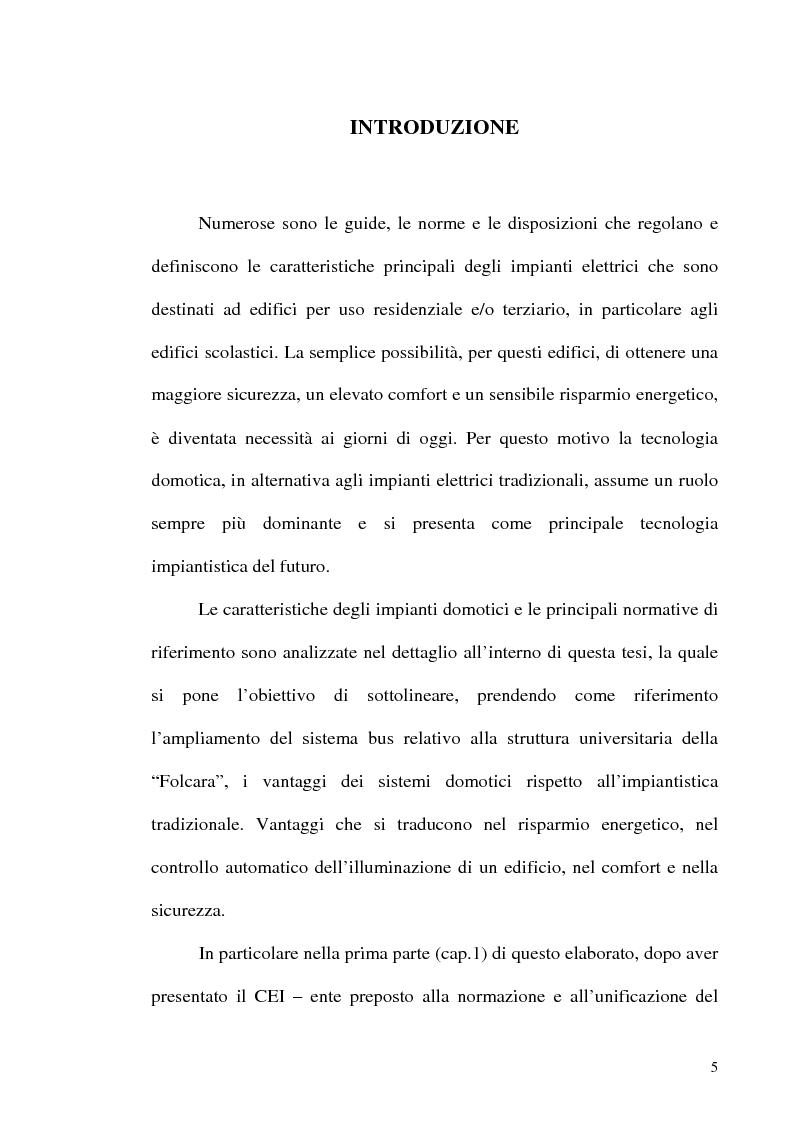 Anteprima della tesi: Sistemi domotici per il monitoraggio dei consumi energetici di edifici scolastici: la struttura ''Folcara'', Pagina 1