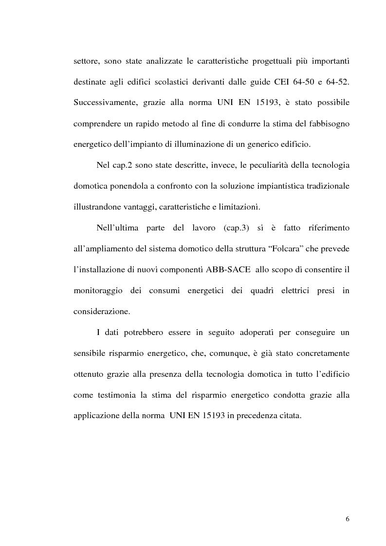 Anteprima della tesi: Sistemi domotici per il monitoraggio dei consumi energetici di edifici scolastici: la struttura ''Folcara'', Pagina 2