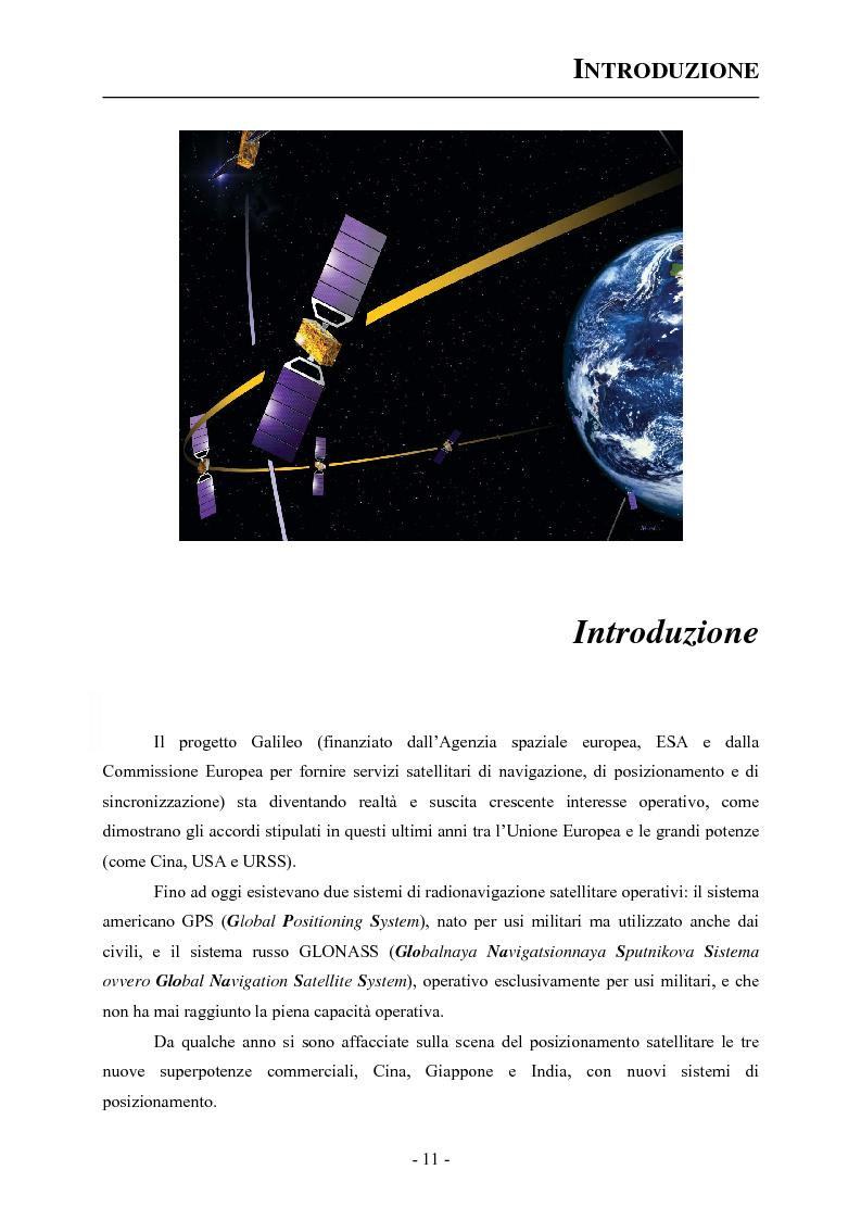 Anteprima della tesi: Analisi ed applicazioni aerospaziali del SIS (Signal In Space) del sistema Galileo, Pagina 1