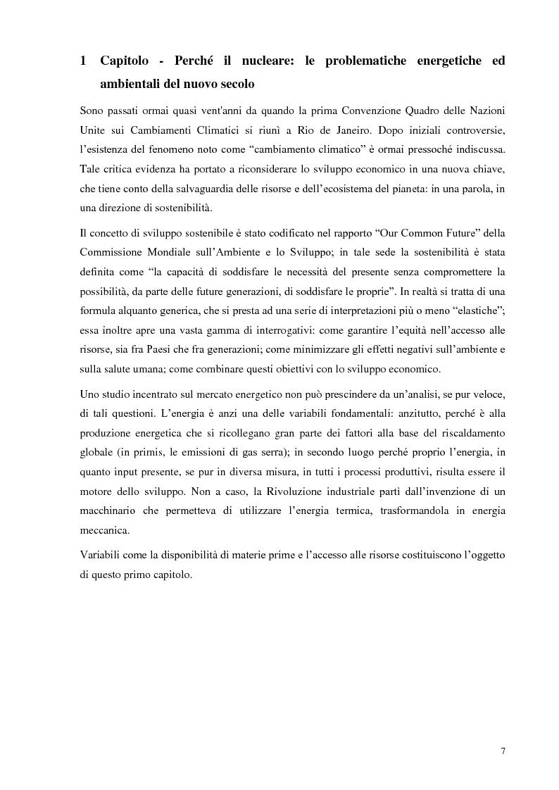 Anteprima della tesi: L'Italia torna al nucleare: elementi critici per la valutazione, Pagina 1