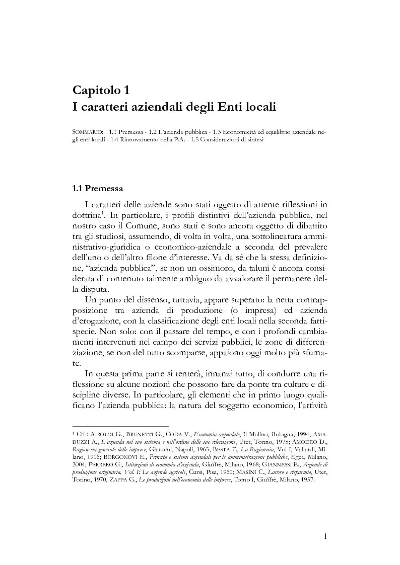 Anteprima della tesi: Il Bilancio sociale negli enti locali. Esperienze a confronto., Pagina 1