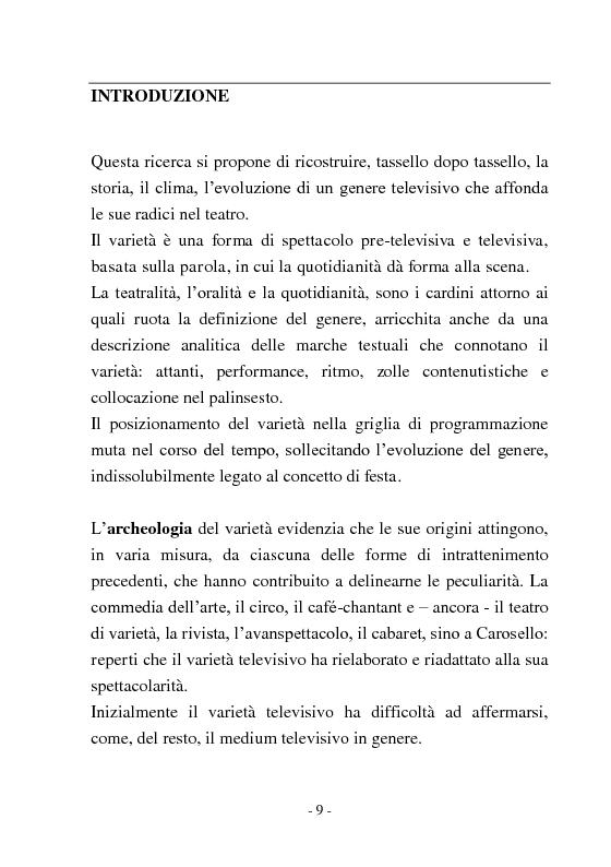 Anteprima della tesi: Signore e Signori, ecco a voi il varietà. L'evoluzione di un genere: dai primi varietà al one man show., Pagina 1