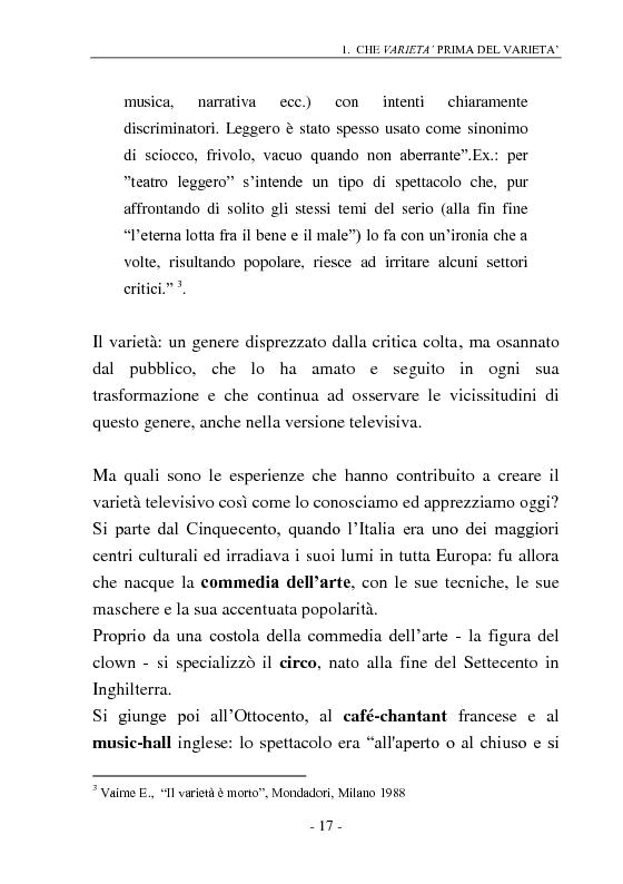 Anteprima della tesi: Signore e Signori, ecco a voi il varietà. L'evoluzione di un genere: dai primi varietà al one man show., Pagina 9