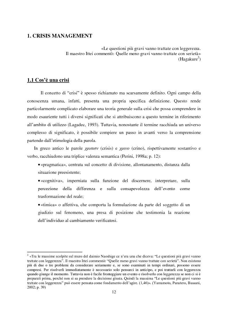 Anteprima della tesi: Crisis Management: la crisi finanziaria e la comunicazione delle banche, Pagina 1