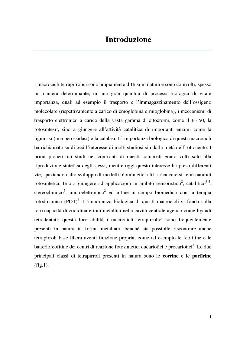 Anteprima della tesi: Reattività di beta-alchil e meso-triaril corroli, Pagina 1