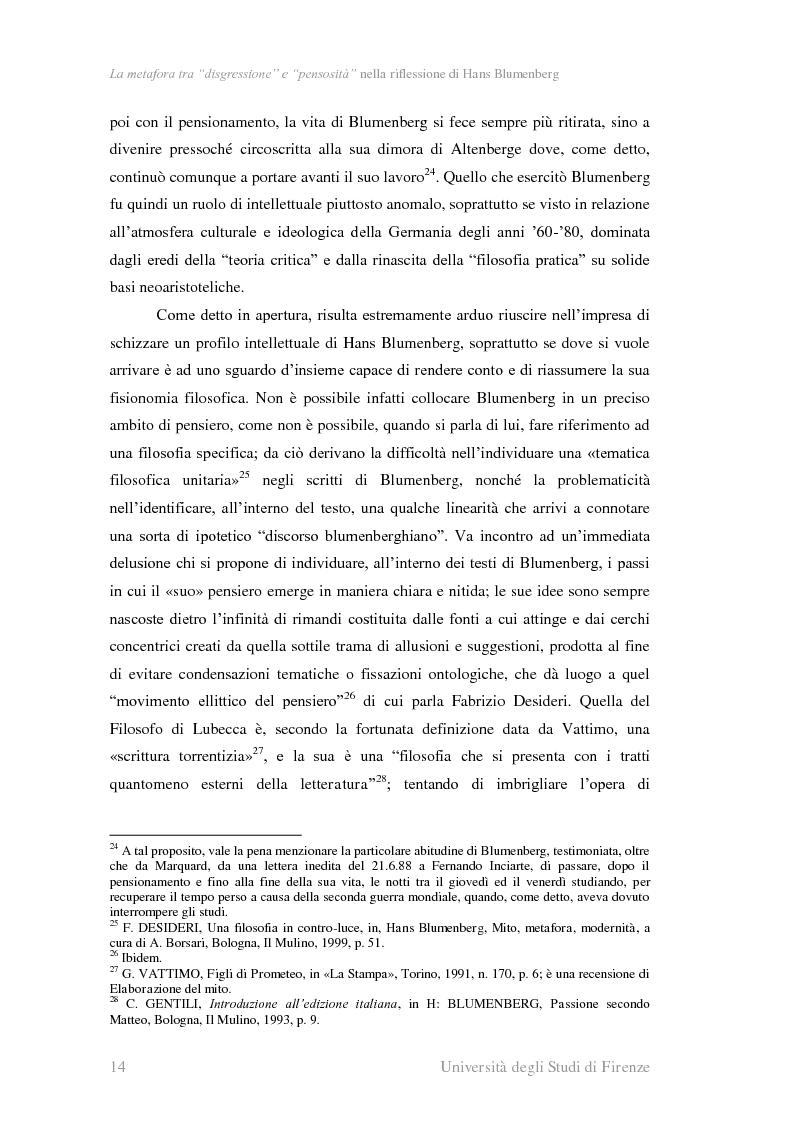 Anteprima della tesi: La metafora tra ''digressione'' e ''pensosità'' nella riflessione di Hans Blumenberg, Pagina 10