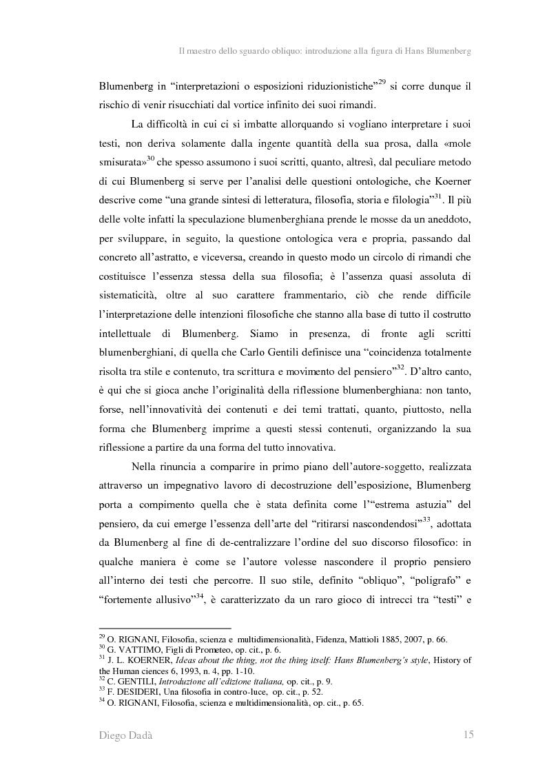 Anteprima della tesi: La metafora tra ''digressione'' e ''pensosità'' nella riflessione di Hans Blumenberg, Pagina 11