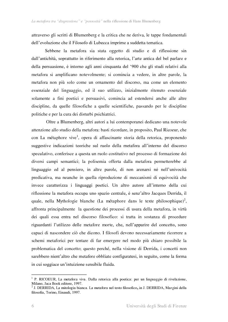 Anteprima della tesi: La metafora tra ''digressione'' e ''pensosità'' nella riflessione di Hans Blumenberg, Pagina 2