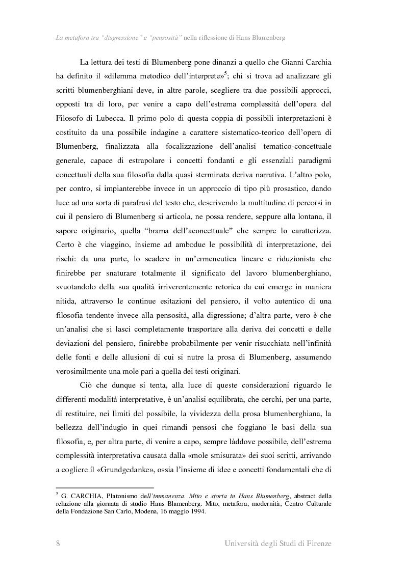 Anteprima della tesi: La metafora tra ''digressione'' e ''pensosità'' nella riflessione di Hans Blumenberg, Pagina 4