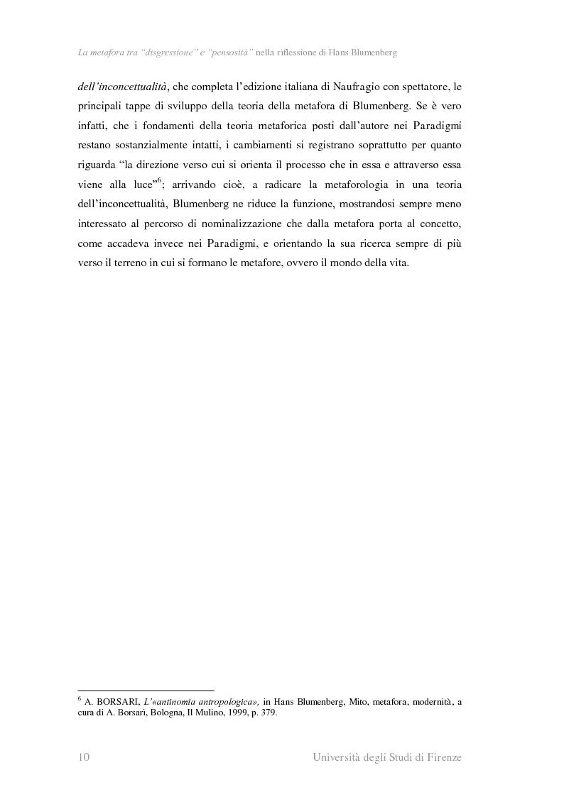 Anteprima della tesi: La metafora tra ''digressione'' e ''pensosità'' nella riflessione di Hans Blumenberg, Pagina 6