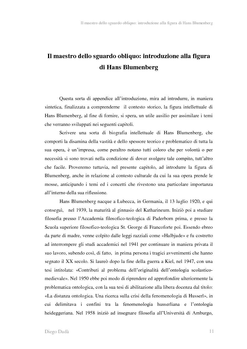 Anteprima della tesi: La metafora tra ''digressione'' e ''pensosità'' nella riflessione di Hans Blumenberg, Pagina 7