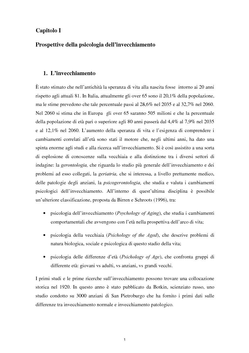 Anteprima della tesi: L'invecchiamento e il ruolo delle emozioni inconsapevoli in un compito di memoria di lavoro, Pagina 2