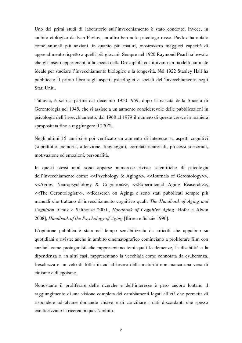 Anteprima della tesi: L'invecchiamento e il ruolo delle emozioni inconsapevoli in un compito di memoria di lavoro, Pagina 3