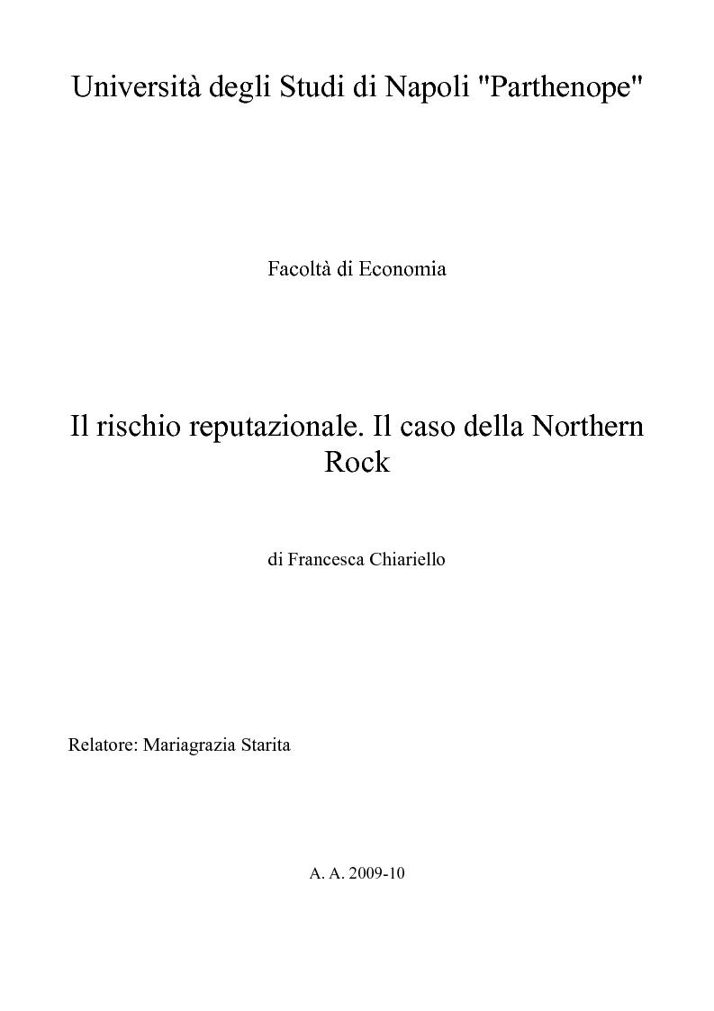 Anteprima della tesi: Il rischio reputazionale. Il caso della Northern Rock, Pagina 1