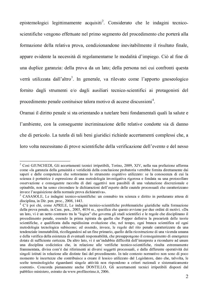 Anteprima della tesi: Gli accertamenti tecnici irripetibili nel processo penale, Pagina 2
